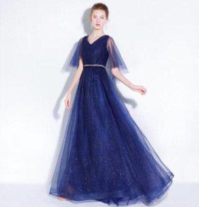 Вечернее платье новое синее