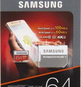 Карта памяти 64 гб micro SD Samsung Evo