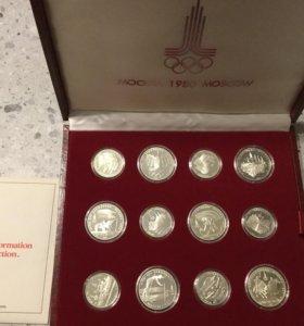 Олимпиада 80 серебро 28 монет в футляре