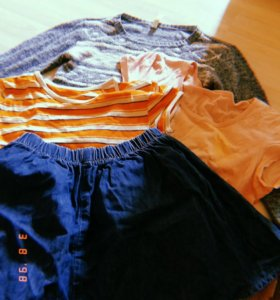 Джинсовая юбка, полосатая футболка, джемпер
