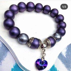 Фиолетовый жемчужный браслет