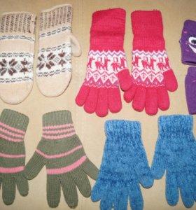 Варежки и перчатки для девочки 3-6лет