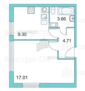 Квартира, 1 комната, 34.7 м²