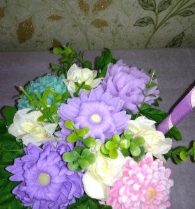 Корзина с цветами из мыла ручной работы