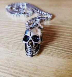 Кулон череп с цепочкой