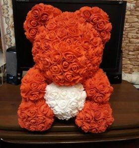 Мишка из 3D роз в коробке большой