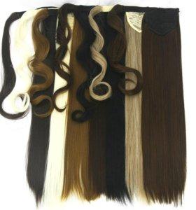 Хвост конский волосы на заколке