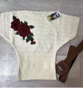 Модный свитер с ремнём