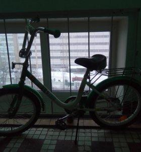 Велосипед Stels Flash 18 с бок. колесами зел/бел