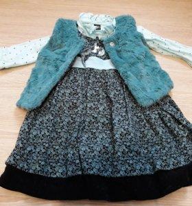 Платье, блузка, меховая жилетка
