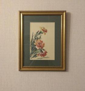 Картина вышивка «Гвоздики»