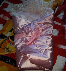 Новое атласное одеяло на выписку