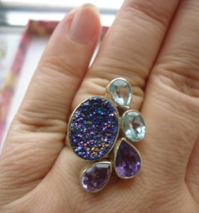 Перстень серебро, вставка - топазы, аметисты,агат
