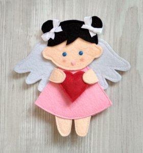 Подарок на 14 февраля ангелочек магнит или брелок