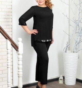 КОСТЮМ 032.10.2 брюки+блуза (черный, 62)