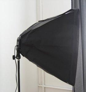 Софтбокс 50х70 см с держателем 4 лампы Е-27