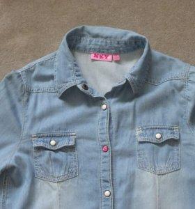 Джинсовая рубашка для девочки 11 - 12 лет