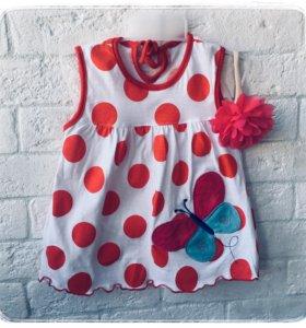 Детское летнее платье в горошек