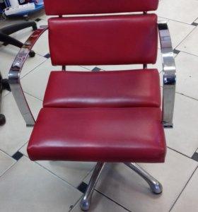 Кресло парикмахерское Красный. Гидравлика. Хром