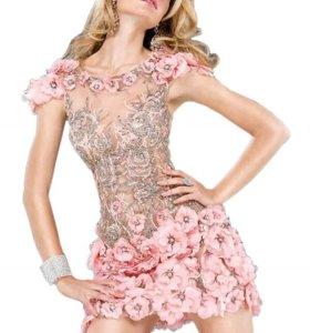 Платье коктейльное, розовое