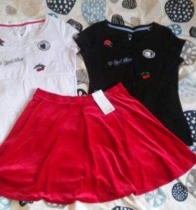 Новые футболки и юбка Oodji 48-50 размер