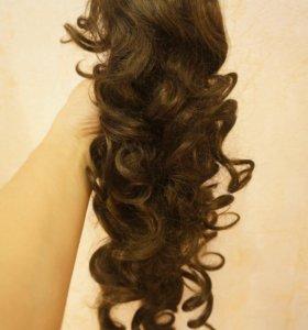 Накладной хвост из искусственных волос на заколке