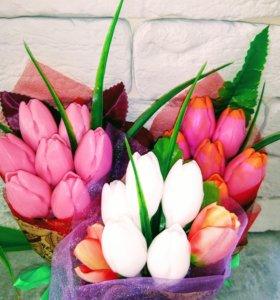 Букет тюльпанов из мыла