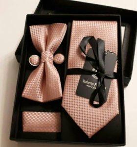 Галстук подарочный набор 4в1 галстук-бабочка