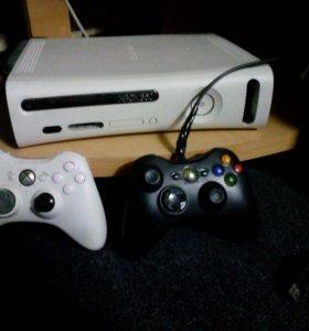 Xbox 360 + 6 игр и 2 геймпада