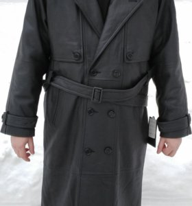 Кожаный плащ / пальто из натуральной кожи (новый)