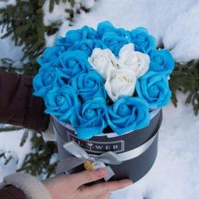 """Букет из мыльных роз """"Зимнее сердце"""""""