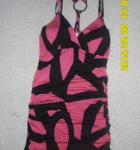 Платье розово-черное
