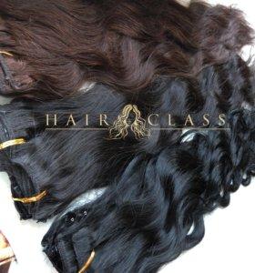 Натуральные волосы на заколках 55 см