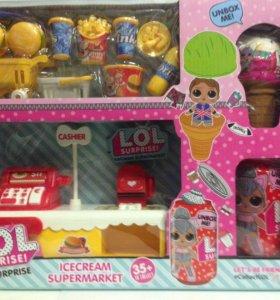 Игровой набор Магазин мороженного LOL + 2 куклы