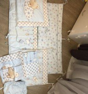 Бортики в кроватку и комплект белья