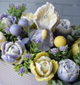 Мыло букет ирис и тюльпаны