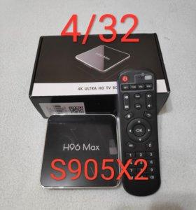 H96 max 4/32 смарт тв приставка tv box