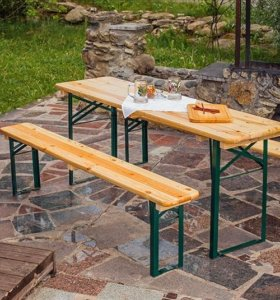 Комплект стол и 2 скамейки складной