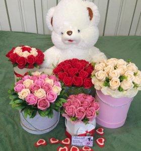 Букеты из роз на мыльной основе.