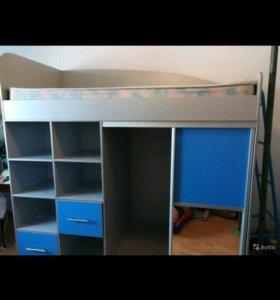Кровать чердак со встроенным шкаф-купе