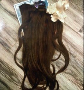 Волосы локоны шиньоны на заколках