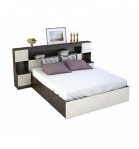 Новая двуспальная кровать с прикроватным блоком