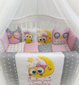 Новый набор комплект в кроватку бортики