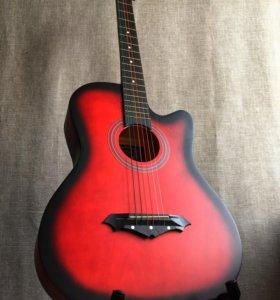 Гитара акустическая новая красная