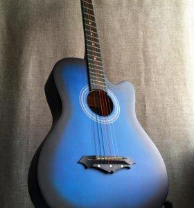 Гитара акустическая новая синяя