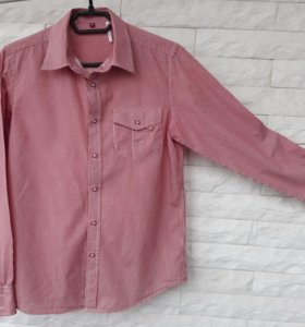 Рубашка муж. в красную полоску(S)