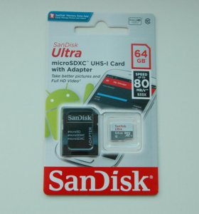 Новая Micro SD карта Sandisk 64 Gb