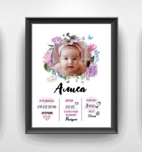 Метрика для новорожденных и малышей на вашу дату