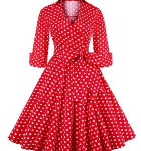 Ретро платье красное в горох