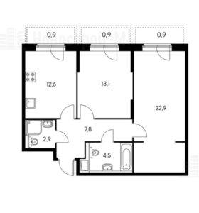 Квартира, 2 комнаты, 64.7 м²